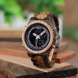 Wholesale Retro Watch Bands - BOBO BIRD Men Luxury Dual Display Digital Retro Watches Wooden Band Free Singapore Shipping Custom Watches Gift Male Clocks