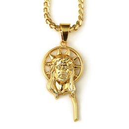 Wholesale Male Gold Pendants - hip hop Jewelry dancer rock plating 18K real gold jesus piece necklace hippie hipster jewellery women male promotions