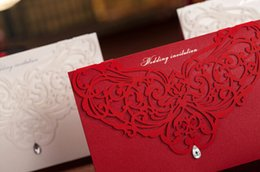 Wholesale Wedding Card Free Fold - Customizable Hollow Crystal Lace Wedding Invitation Card With Supplies Free Printable Cards Foil Stamping Vintage Wedding Invitations