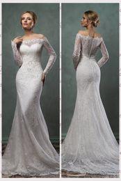 Wholesale Elegant Beads - Elegant Lace Mermaid Wedding Dresses 2016 Amelia Sposa Bateau Sheer Neck Appliques Bridal Gowns Beads Cascading Ruffles Wedding Gowns