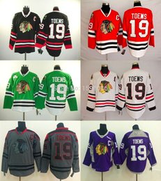 Wholesale Cheap Jerseys Wholesalers - 2017 wholesale Chicago Blackhawks Jerseys 19 Jonathan Toews Cheap Ice Hockey Jerseys Black white Grey Purple Green Red