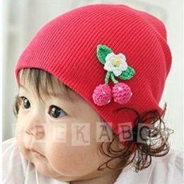 Wholesale Korean Baby Wig - Korean version Dongkuan baby hat baby hat wool hat children set of head cap wig hat princess