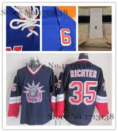 Wholesale Liberty Vintage - 2016 New, #35 Mike Richter Blue CCM Vintage Ice Hockey Jersey,retro New York Rangers lady liberty Jerseys,Sewing Logos,Accept Retail