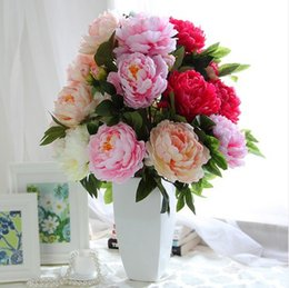 Wholesale Large Artificial Flower Bouquets - Free shipping 1bouquet Super large artificial silk peony flowers bunch  bouquet with 7big heads in high simulation 5 color