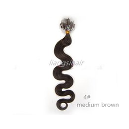 "Wholesale Hair Extensions Human Loop - Brazilian Remy Human Hair Extensions Brazilian micro hair extensions 16""-26"" 40g 50g 70g 100s 4# Medium Brown Body Wave Loop Ring Hair"