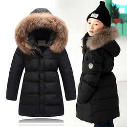 Wholesale Age 13 - 2015 Winter Children Down Jackets Girls Large Fur Collar Duck Down & Parkas Girls Long Thicken Down Outerwear &Coats Age 5-13 T