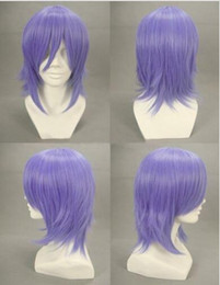 Wholesale short blue cosplay wigs - Rosario + Vampire Mizore Shirayuki Cosplay Wig Short Blue Purple Hair Wigs