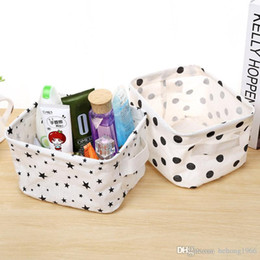 Wholesale Linen Storage Baskets - Foldable Mini Storage Box Durable Natural Linen Cotton Fabric Organizer Washable Stars Round Dot Tree Plus Pattern Sorting Basket 3 6cs B