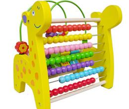 beads around wooden toys NZ - New Wooden Toy Multifunction Deer Around Beads Flap Computing Rack