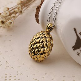 Wholesale Egg Dragon - Game Of Thrones movie jewelry Song Of Ice and Fire Dragon Egg Pendant Necklaces Vintage Retro Pendants For Men and Women