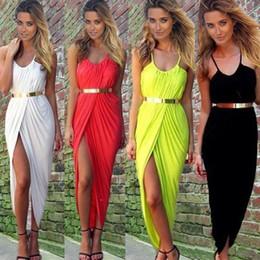 Wholesale Maxi Dress Belt White - 2015 With Belt! Summer Women Neon Asymmetry Slit Beach Dress Ladies Party Evening Maxi Dresses Sexy Club Vest Vestidos