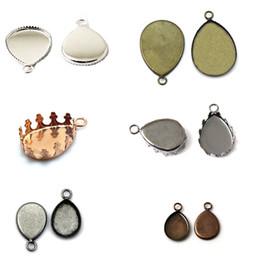 Wholesale Cameos Jewelry Making - Beadsnice blank bezel settings pendant setting cameo base fashion DIY parts to make jewelry brass teardrop shape mix style ID 32242