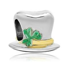 Wholesale Pandora Hat - Fashion women jewelry European green magician hat metal spacer bead lucky charms fits Pandora charm bracelet