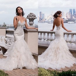 Wholesale Gorgeous Mermaid Beach Wedding Dresses - Eve of Milady 2017 Gorgeous Mermaid Wedding Dresses Spaghetti Straps Lace Embroidery Open Back Tulle Bridal Gowns Custom Made