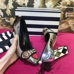 Quadratische zehen kleid schuhe online-2018 klassische Mary Jane T Stage Hochzeit Party Pumps Sexy Chunky Heels Metall Square Zehe Damen Kleid Schuhe