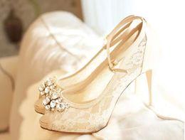 Canada Ivoire Belle Vogue Dentelle Cristal 10cm Haut Talons De Mariage Chaussures De Mariée Offre