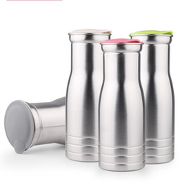 Wholesale Caliber Wholesale - Stainless Steel Kettle Single Layer Heat Resistant Water Bottles Round And Large Caliber Design Stemless Cup Silver 17 64fn B