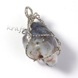 Wholesale Silver Pendants Wind - wholesale 10Pcs Natural Persian Agate Stone Random Shape Winding Silver Plated Line Stone Pendant Jewelry For Neckalce