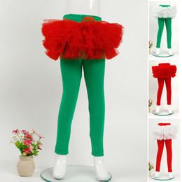 Wholesale Red Metallic Leggings - Christmas Kids Girls Lace Dress Pants Babies Spring Autumn Stretchy Leggings 2018 Kids Princess Xmas Clothing