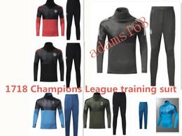 Wholesale Printing Kit - 2017 2018 Real Madrid soccer tracksuit kits 17 18 Ronaldo DYBALA HIGUAIN Man United pogba football Training suit BALE jacket mens clothing
