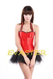 Wholesale Printed Halter Corset - Wholesale-cute new design Red Halter woman sexy corset set