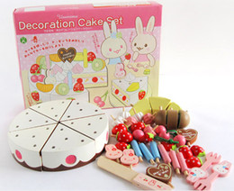 Wholesale Pretend Birthday Cake - Cake Toy Children's wooden strawberry birthday cake playing house toy honestly look Pretend Play