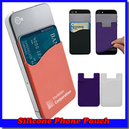 Wholesale Smart Phone Pocket - 3M Sticky Phone Wallet Silicone Self Adhesive Card Pocket Covers Colorful Credit Card Holder Wallet Smart Silicone Phone Pouch