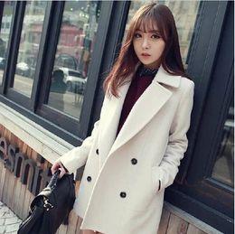 Wholesale Double Breasted Wool Coat Women - 2015 Women Coat autumn and winter new Korean version was thin long section of double-breasted wool coat woolen coat female