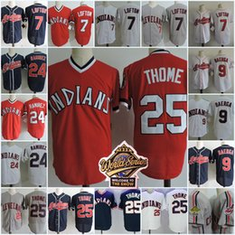 Wholesale Mens Army Shorts - Mens #25 JIM THOME Throwback Jersey Stitched #7 Kenny Lofton #9 Carlos Baerga #24 Manny Ramirez 1995 WS baseball Jerseys S-3XL