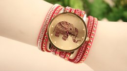 Wholesale Rhinestone Animal Watches - Hot Sale Free Shipping Elephant Charm Handmade Leather Wristwatch Women Bracelet Watches For Ladies Christmas Gift Fashion Animal Watches