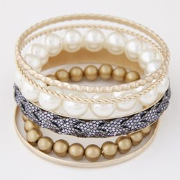 Wholesale White Multi Pearl Bracelet - Fashion 2015 Bijoux Bracelets Bangles Multi layer Gold Bangles Imitational Pearl One Direction Bracelets For Women Jewelry