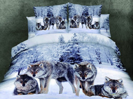 Wholesale Bedding Wolf Comforter - 4PCS Bedding set without comforter WOLF PACK cool pattern NEW PRODUCT