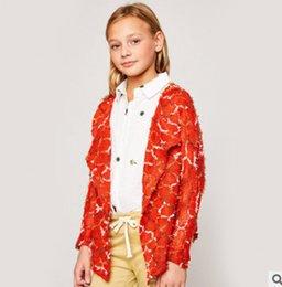 Wholesale Girls Crochet Coat - Children knit cardigan fashion new kids colorful plaid tassel crochet princess coat big girls lapel long sleeve outwear fit 7-14T R1176