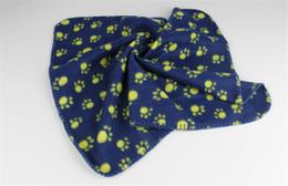 Wholesale Wholesale Paw Print Towels - Cute Pet Dog Cat Blanket Paw Prints Soft Warm Fleece Mat Bed Cover Special Towel Cushion