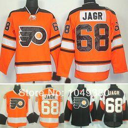 camisola clássica do hóquei do inverno alaranjado Desconto Moda-Masculina Philadelphia Flyers Hóquei Jerseys # 68 Jaromir Jagr Jersey Laranja Inverno Clássico Preto Cor Costura Livre S