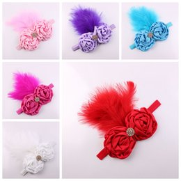 Wholesale ostrich feathers hair accessories - 100pcs baby Ostrich hair color rose flower Headband Girl Accessories Infant feather flowers with Rhinestone Injun Hairband Photo Prop YM6104