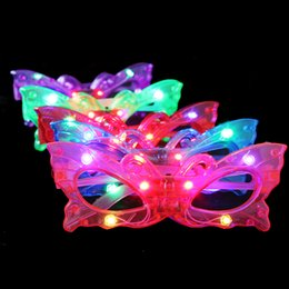Wholesale Purple Glass Toys - Shining Plastic Butterfly Glasses Mask Flash Light Color Children Dancing Mask Birthday Gift Kids Toys 20pcs lot SD860