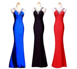 Wholesale Charmeuse Red Evening Dress - 2015 new Womens Long Evening Formal V-Neck delicate Silk charmeuse bodice Bridesmaid Ball Gown Prom Party pageant Dresses