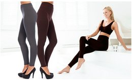 Wholesale Thermal Leggings Wholesale - Women Solid Fleece-Lined Leggings Warm Winter footless Legging Thick Thermal Slim Leggings Super Elastic pantyhose 10pcs lot Free shipping