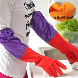Wholesale Household Gloves Dishwashing - Waterproof Household Protect hands Glove Warm Dishwashing Glove Water Dust Stop Laundry kitchen Cleaning Rubber Glove