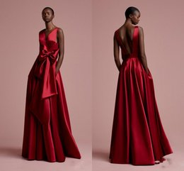 Wholesale Petal Fabric - 2018 New Red Burgundy Color Prom Dress Sleeveless Cheap Vestidos De Festa Floor Length Party Gowns Satin Fabric Evening Dresses With Bow