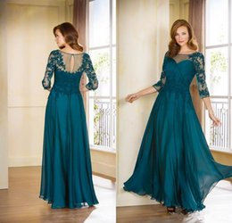 Wholesale Cheap Teal Dress - Cheap Mother Of The Bride Plus Size Long Evening With Half Sleeves Formal Dresses Teal Blue Mother Off The Bride Dresses