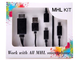 Wholesale Mhl Galaxy S2 - Universal Micro USB MHL To HDMI Cable HDTV Adapter For Samsung Galaxy S2 S3 S4 S5 For HTC LG SONY huawei mi 2 1080P