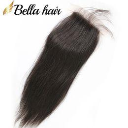 Wholesale Silk Top Closure Free Shipping - Silk Base Closure 100% Peruvian Virgin Hair Piece Top Closure 10~20 4*4 Human Hair Top Closure Natural Color Silky Straight Free Shipping