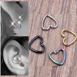 Wholesale Cartilage Hoops - 40pcs lot Mixed 4 Colors Ear Cartilage Earrings Piercing Heart Labret Rings Lip Hoop Nose Rings Body Jewelry