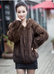 Wholesale Knitted Mink Coat Hood - Wholesale-Hot Sale Real Fur Coats Women Handmade Knitted Mink Fur Coat With Fur Hood Winter Fur Jackets For Women Free Shipping