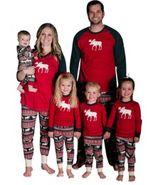 Wholesale Kids Christmas Pyjamas Wholesale - 2017 Christmas Deer Striped Pajamas Kids Adult Family Matching Clothes Sleepwear Nightwear Pyjamas Bedgown Deer Matching Outfits Xmas Gift