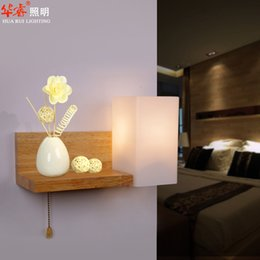 Wholesale Square Bedside Lamp - Solid Wood E27 LED Rustic Wall lamp bedside lamp burlywood art deco brief glass lampshade vintage square cylindric living room bedroom