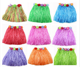 Wholesale Hula Dance - Popular Tassel Child Girl Princess Flower Hula Grass Skirt Fancy Costuhow me Show SkirtHula grass skirts garlands bracelet head LJJH3 400pic