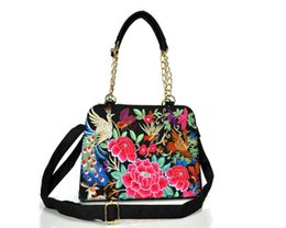Wholesale Small Purse Double Zipper - Handbag women bag Crossbody Bags Purses handbags with double sided handmade embroidery china national Leisure Bag 5 colors
